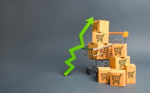 shopping-cart-with-cardboard-boxes-with-pattern-trading-carts-green-up-arrow_72572-1040